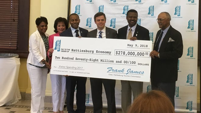 The Hattiesburg Tourism Commission presented Mayor Toby Barker with a symbolic check for $278 million, indicating the dollar amount of visitor spending in the city for 2017. The check was presented during a National Travel and Tourism Week event Wednesday, May 9, 2018, at the Hattiesburg Train Depot.