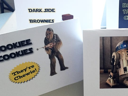 Signs at the kids' party for Star Wars on Saturday at the Staunton Public Library.