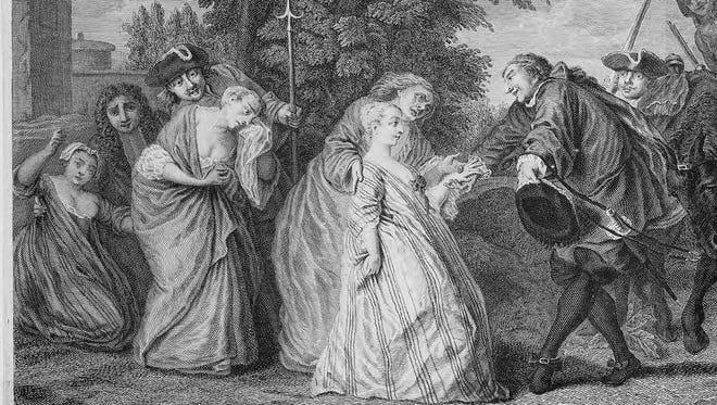 """Contemporary engraving depicting the departure of """"casket girls"""" to the New World."""
