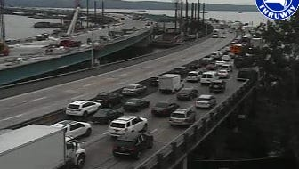 New York State Thruway traffic backs up southbound getting on the Tappan Zee Bridge after a motorcyclist was killed in a collision with a tractor-trailer Westchester-bound on the bridge, Aug. 31, 2016. The traffic is seen in a Thruway Authority traffic camera image.