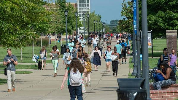 Students make their way around the MTSU campus Monday for the university's first day of classes.