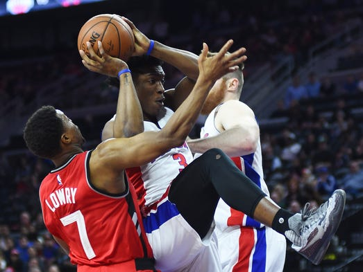 Pistons forward Stanley Johnson (3) goes to the basket