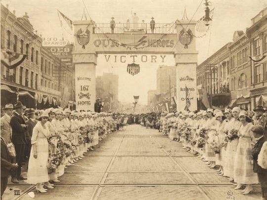 World War I victory parade for the 167th Infantry regiment on Commerce Street at the intersection with Tallapoosa Street in Montgomery, Alabama