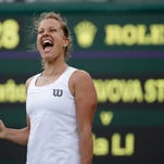 Petra Kvitova of Czech Republic lets out a yell after defeating Venus williams at Wimbledon on Friday.