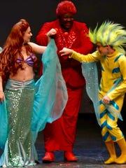 Victoria Mozitis (from left) as Ariel, Domonic Barnes