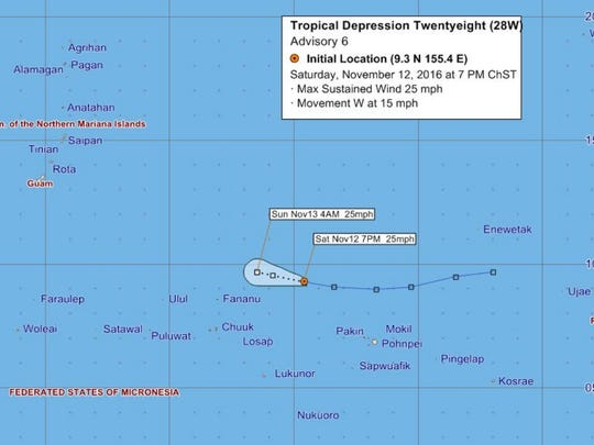 Forecast warning graphic for Tropical Depression 28W posted Saturday at 7 p,m.