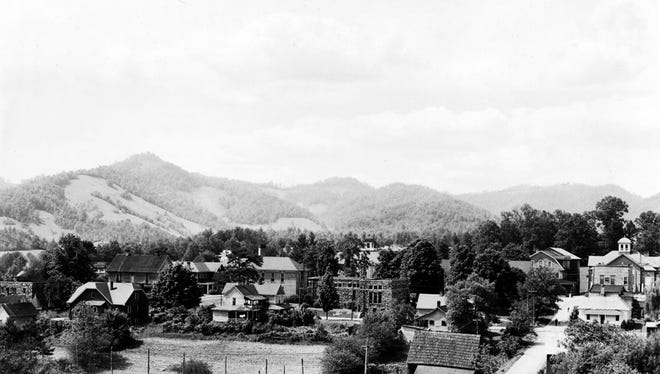 A shot of Mars Hill in the early 1900s shows Bailey Mountain in the distance.