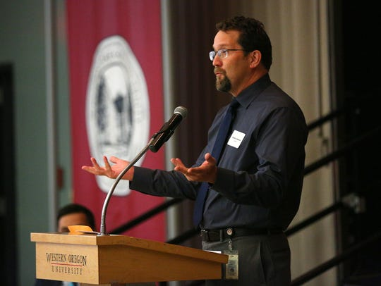 Brad Capener, then Salem-Keizer Public Schools migrant program coordinator, speaks at a Contributing Voices Conference at Western Oregon University in 2015.