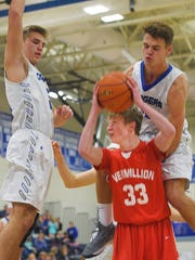 Sioux Falls Christian's Collin Reitsma goes against Vermillion defense during the game Thursday, Jan. 18, at SF Christian.