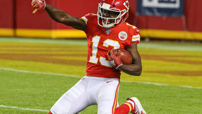 Kansas City Chiefs wide receiver Byron Pringle celebrates after downing a punt against the Houston Texans in the playoffs.