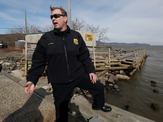 Piermont Police Chief Michael O'Shea surveys damage