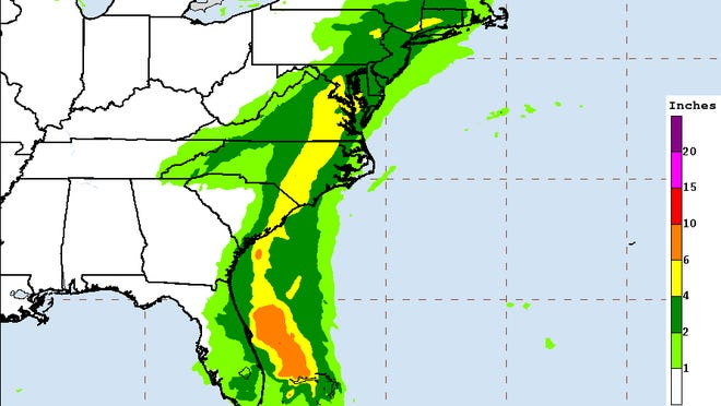 Heavy rains, up to 7 inches in places, is forecast for parts of eastern South Carolina and North Carolina's Interstate 95 corridor starting Monday as Tropical Storm Isaias moves into the region.