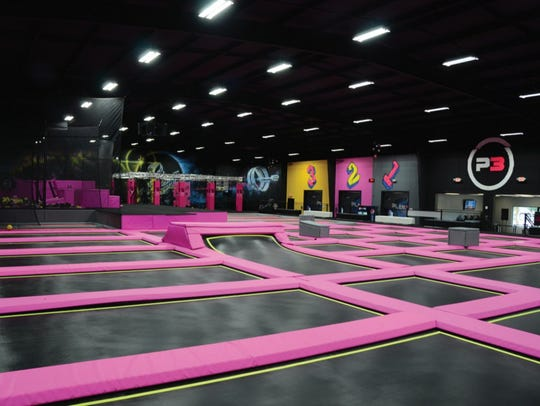The inside of a Planet 3 Extreme Air Park is shown.