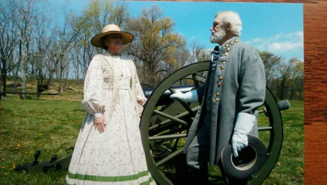 Earl and Donna Weaver portraying Robert E. Lee and his wife Mary. The Weavers are Civil War reenactors who are renewing their wedding vows while portraying the Lees at a ceremony in Gettysburg Sunday, July 2, 2017.