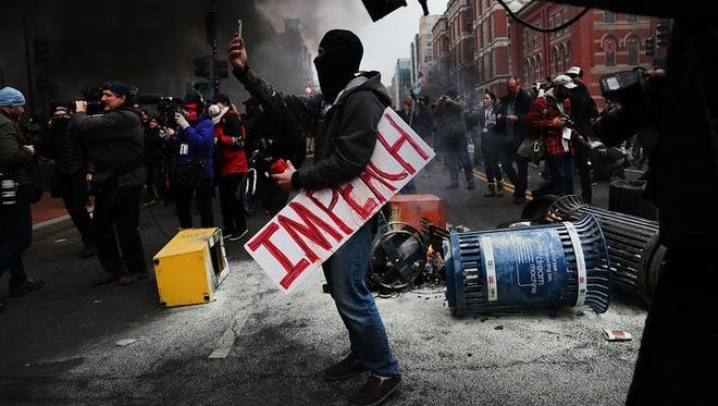 A protester in Washington during President Donald Trump's inauguration
