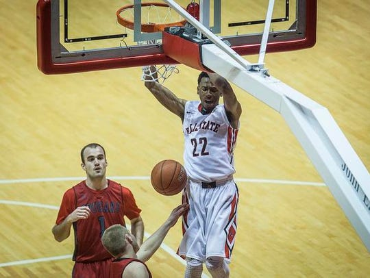 Ball State's Jeremie Tyler dunks on IU Kokomo during