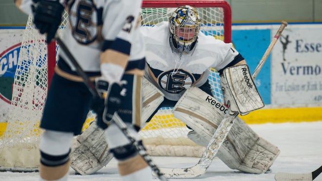 Essex goalie Erik Short (1) watches the action during the boys hockey game between the BFA St. Albans Bobwhites and the Essex Hornets at Essex High School on Saturday afternoon December 13, 2014 in Essex, Vermont. (BRIAN JENKINS, for the Free Press)