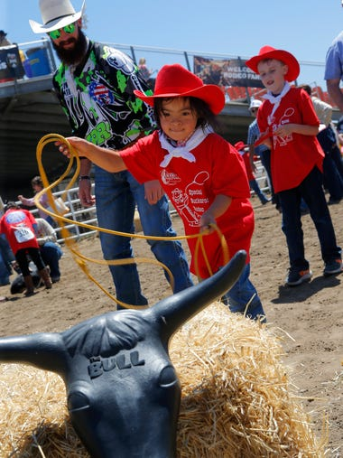 Jonah Chavez, 6, practices roping at the Special Buckaroos