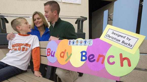 Christian Bucks introduced the Buddy Bench at Roundtown
