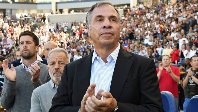 Los Angeles Galaxy head coach Bruce Arena on the sidelines befor the game against the Orlando City FC at StubHub Center.