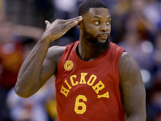 A salute to self? Stephenson celebrated hitting a three-pointer by signaling that he was getting into the defenders' heads in the Pacers' game Wednesday against the Milwaukee Bucks. The Pacers won, 104-89.