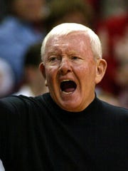 UNLV coach Charlie Spoonhour yells to his players Thursday,