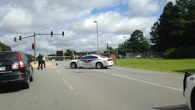 The scene outside the Little Rock Air Force Base in Jacksonville, Ark., where shots were fired
