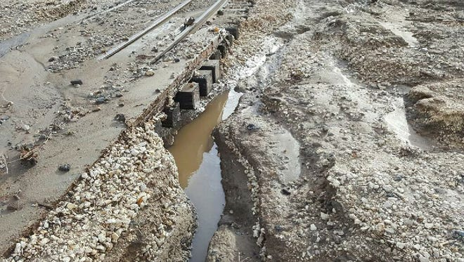 The storm has created muddy conditions at the Nevada State Railroad Museum in Carson City between Jan. 10 and 11.