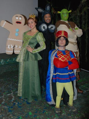 "Starring in ""Shrek: The Musical"" Dec. 4 through 20 at Las Cruces Community Theatre are, from left, Francesca Perez-Wright as Princess Fiona, Mark Kitanga as Donkey, Cameron Lang as Shrek, and Joel Fisk as Lord Farquaad. For tickets, at $10 to $14, call 575-523-1200 or visit lcctnm.org"