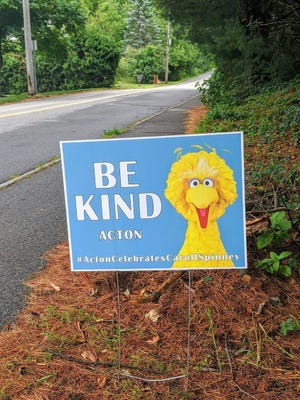 """The """"Be Kind"""" signs seen in yards across Acton were created by the Acton Celebrates Caroll Spinney committee."""