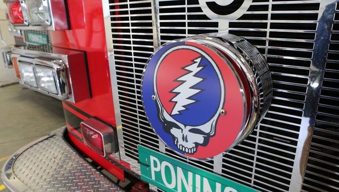 A Grateful Dead logo, on the Harry Howard Hook & Ladder Co. #1 on Westchester Avenue in Port Chester, April 6, 2016.