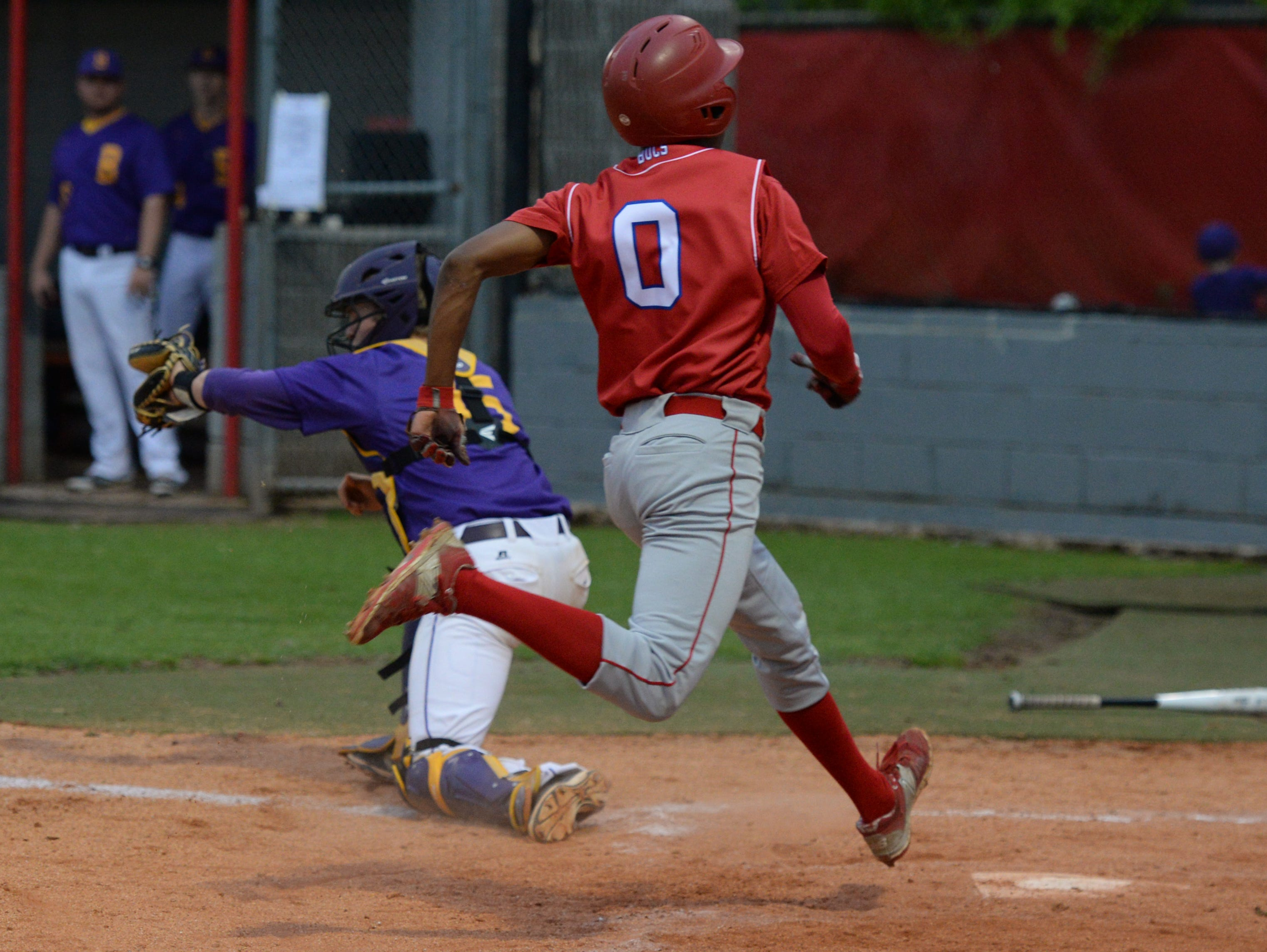 Jeremiah Wilson crossed the plate to tie the score 4-4 in the fourth inning.