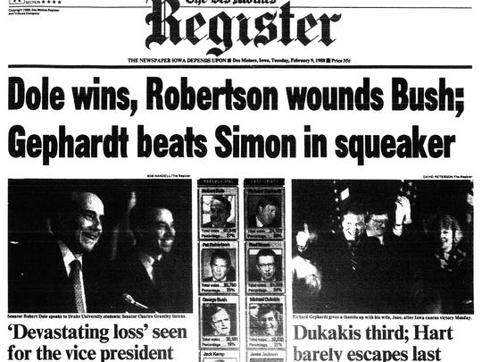 Des Moines Register front page, Feb. 9, 1988. Iowa