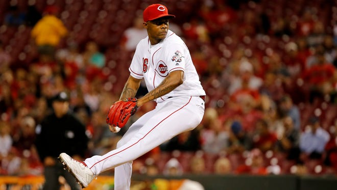 Cincinnati Reds relief pitcher Raisel Iglesias (26) delivers in the ninth inning during the National League baseball game between the Milwaukee Brewers and the Cincinnati Reds on June 27, 2017, at Great American Ball Park.