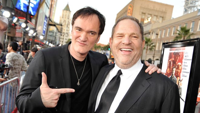Director Quentin Tarantino, left, and producer Harvey Weinstein arrive at the premiere of The Weinstein Company's 'Inglourious Basterds' in 2009.
