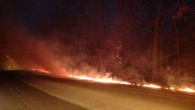 A brush fire behind Walmart in Washington Township burned a dozen acres. The smoke could be detected in Gloucester and Winslow townships.