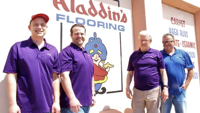 Celebrating 50 years in business, there are now three generations of Walcotts working for Aladdin's Flooring. From left to right, Weston Walcott, grandson; Rowdy Richter, grandson; Ronnie Walcott, owner; Mike Walcott, son.