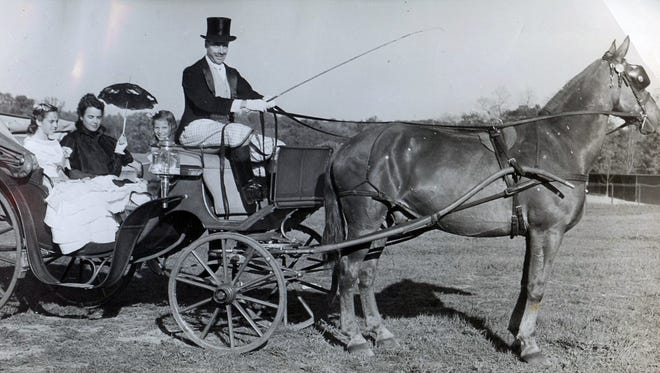 The Meyer family dressed in historical attire for the Vassar Horse show in May 1941.
