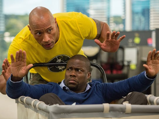 """Kevin Hart, right, and Dwayne Johnson star in """"Central"""