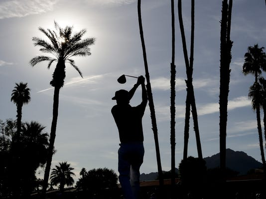 Bubba Watson ewatches his tee shot on the second hole during first round of the CareerBuilder Challenge golf tournament at La Quinta Country Club Thursday, Jan. 18, 2018, in La Quinta, Calif. (AP Photo/Chris Carlson)