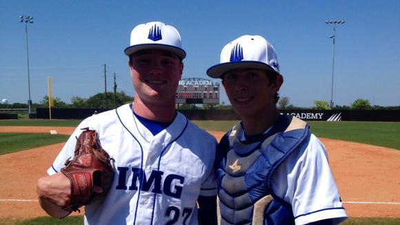 Fletcher's Logan Allen, left, and his catcher at the IMG Academy, Alex Mangome.