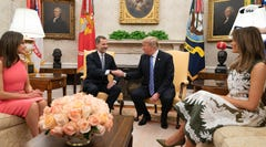 President Donald Trump and first lady Melania Trump warmly welcomed King Felipe VI and Queen Letizia of Spain to the White House.