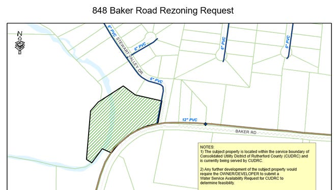 This map shows where a proposed nursing home in green would be located at 848 Baker Road. Developers are seeking rezoning approval from Rutherford County officials.