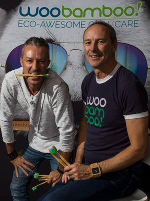 From left, Christopher Fous, CEO of WooBamboo, and Steve Hyde, co-founder and sales director of WooBamboo, recently saw their toothbrush being used in a Super Bowl commercial. The company's headquarters are located in Cape Coral, FL.