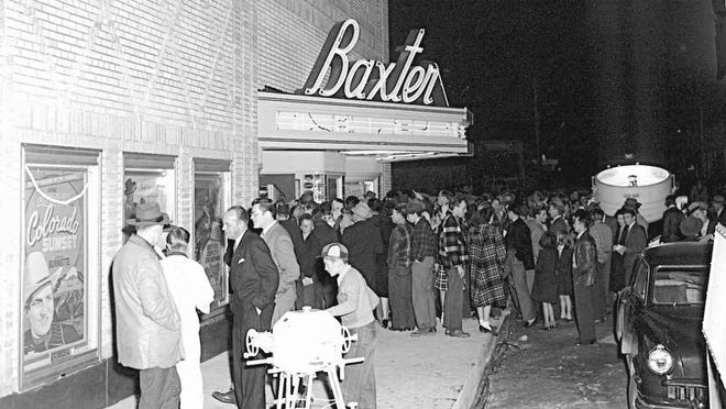 It was a Hollywood-premiere opening Jan. 3, 1948, for the Baxter Theater, complete with arc lights and a huge crowd turning out to see Tarzan and the Huntress at the new theater.