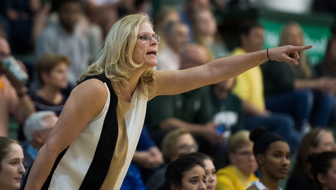 Webb coach Shelley Collier yells to players on the court during a state quarterfinal game between Webb and CPA at Webb Friday, Feb. 23, 2018. Webb defeated CPA 40-19.