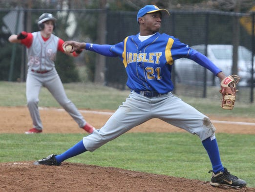 Ardsley's Malyke Robinson delivers a pitch during a game with Sleepy Hollow at Ardsley April 4, 2014.