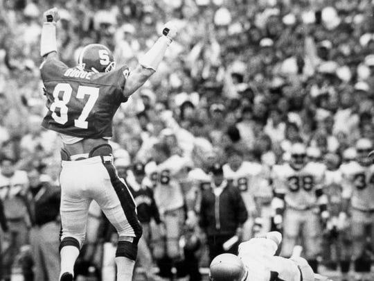 September 1986: John Budde celebrates sack on Notre