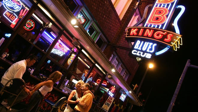 B.B. King's Blues Club on Beale Street, the entertainment hub of Memphis, Tenn. Advocates cite the thriving street as an example of how open-container laws can stimulate development.