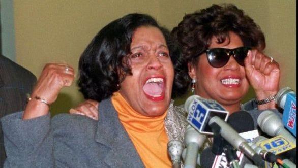 Myrlie Evers (left) and her daughter, Reena, cheer the 1994 conviction of Byron De La Beckwith for killing Myrlie's husband, Mississippi NAACP leader Medgar Evers.